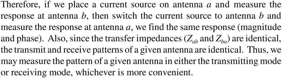 Also, since the transfer impedances (Z ab and Z ba ) are identical, the transmit and receive patterns of a given antenna