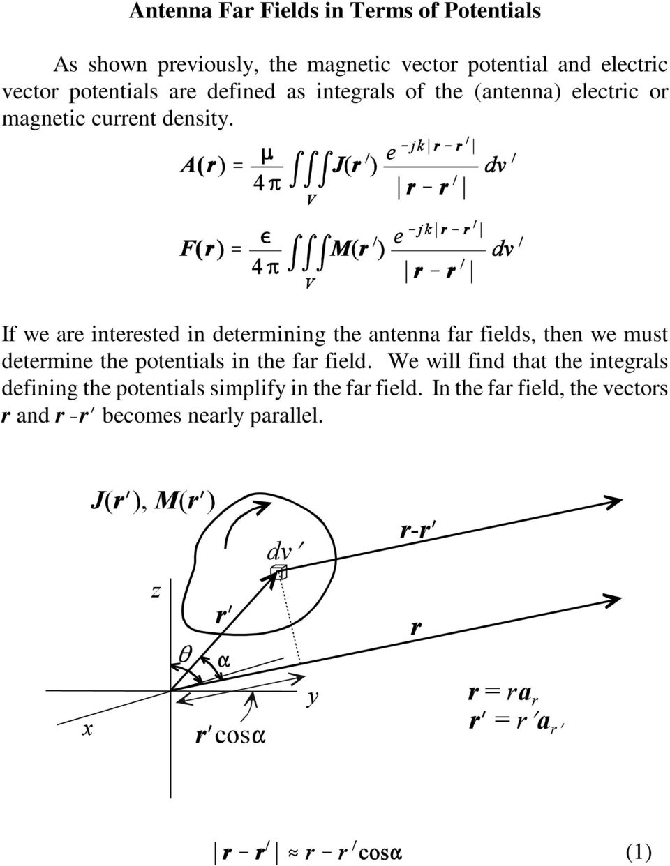 If we are interested in determining the antenna far fields, then we must determine the potentials in the far field.