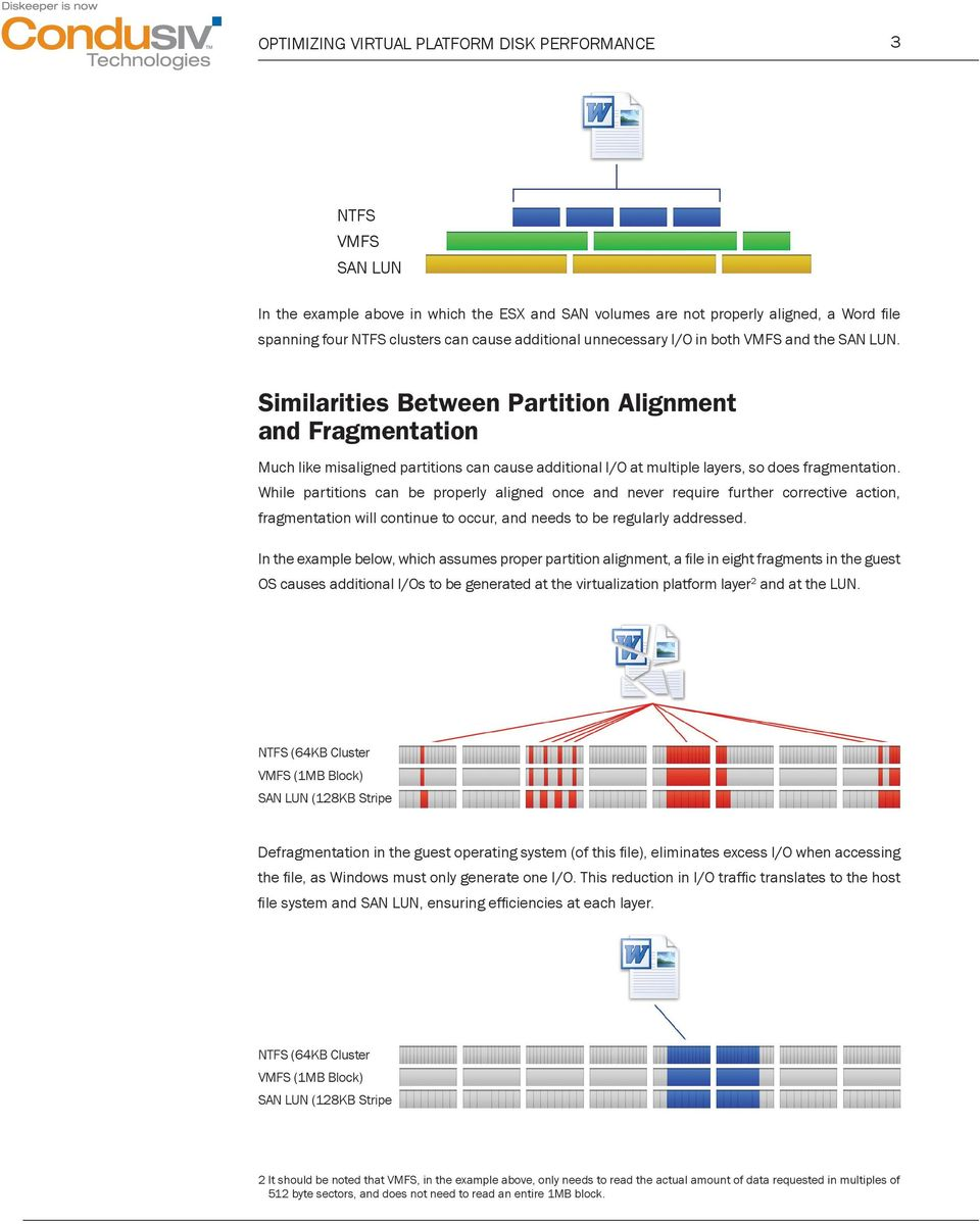 Similarities Between Partition Alignment and Fragmentation Much like misaligned partitions can cause additional I/O at multiple layers, so does fragmentation.