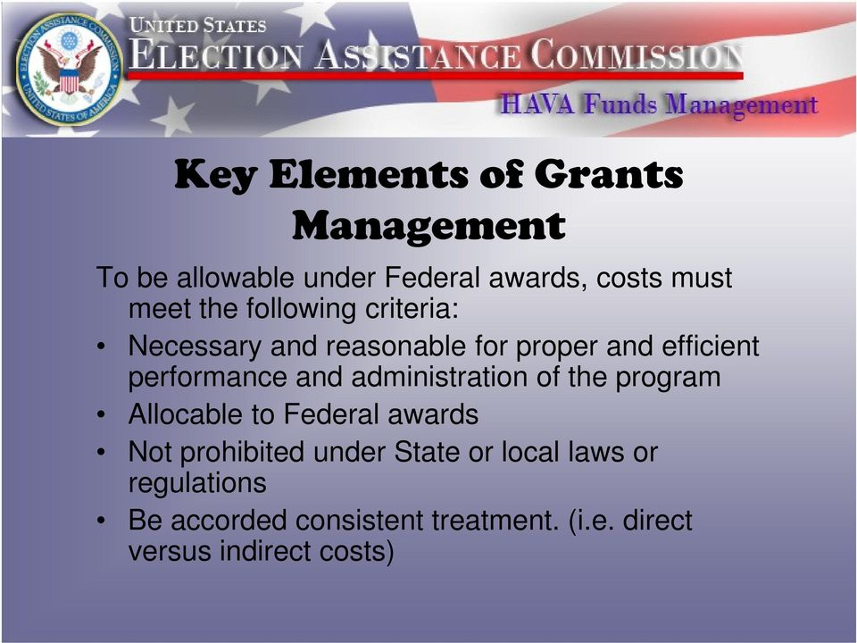 administration of the program Allocable to Federal awards Not prohibited under State or