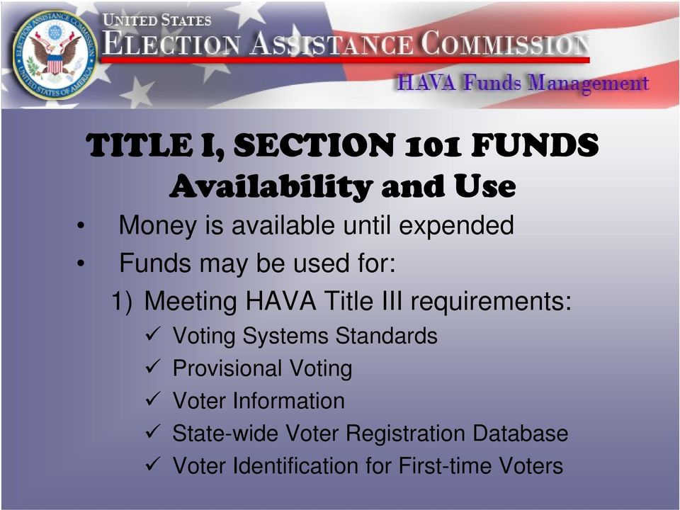 requirements: Voting Systems Standards Provisional Voting Voter