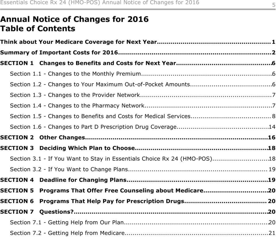 4 - Changes to the Pharmacy Network...7 Section 1.5 - Changes to Benefits and Costs for Medical Services... 8 Section 1.6 - Changes to Part D Prescription Drug Coverage...14 SECTION 2 Other Changes.