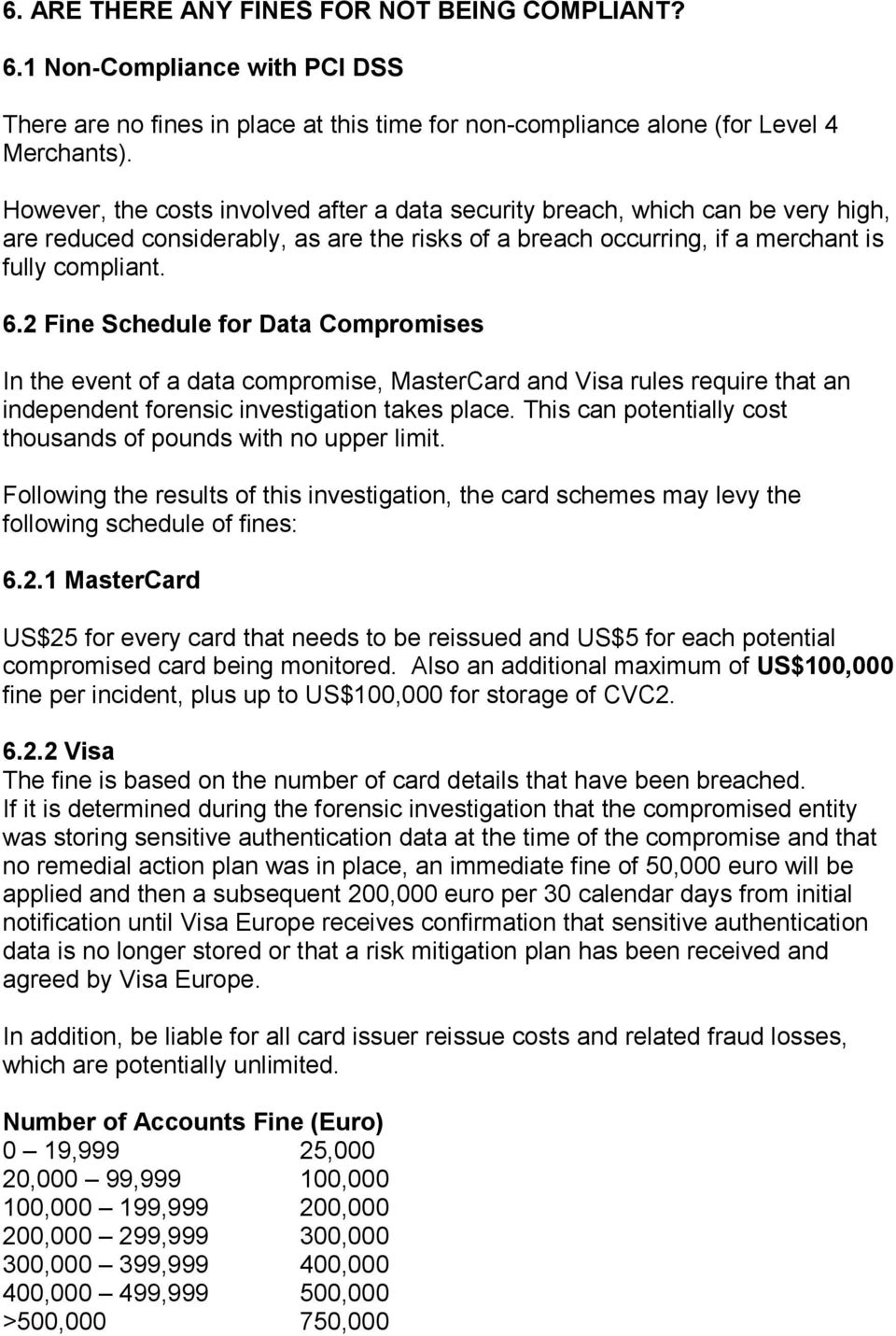 2 Fine Schedule for Data Compromises In the event of a data compromise, MasterCard and Visa rules require that an independent forensic investigation takes place.