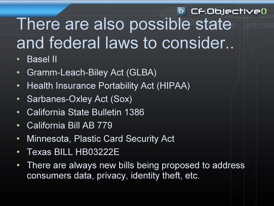 Sarbanes-Oxley Act (Sox) California State Bulletin 1386 California Bill AB 779 Minnesota,