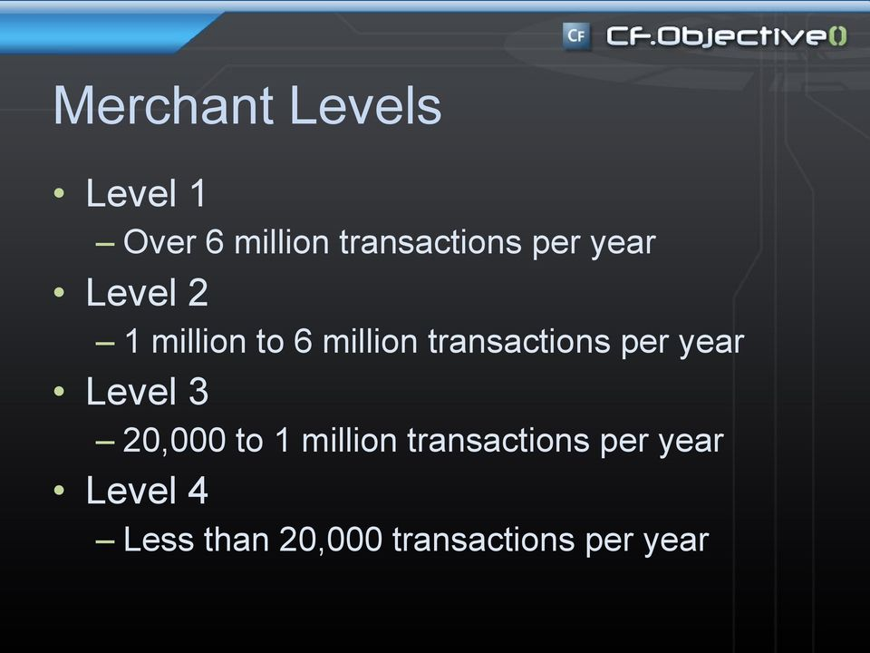 per year Level 3 20,000 to 1 million transactions