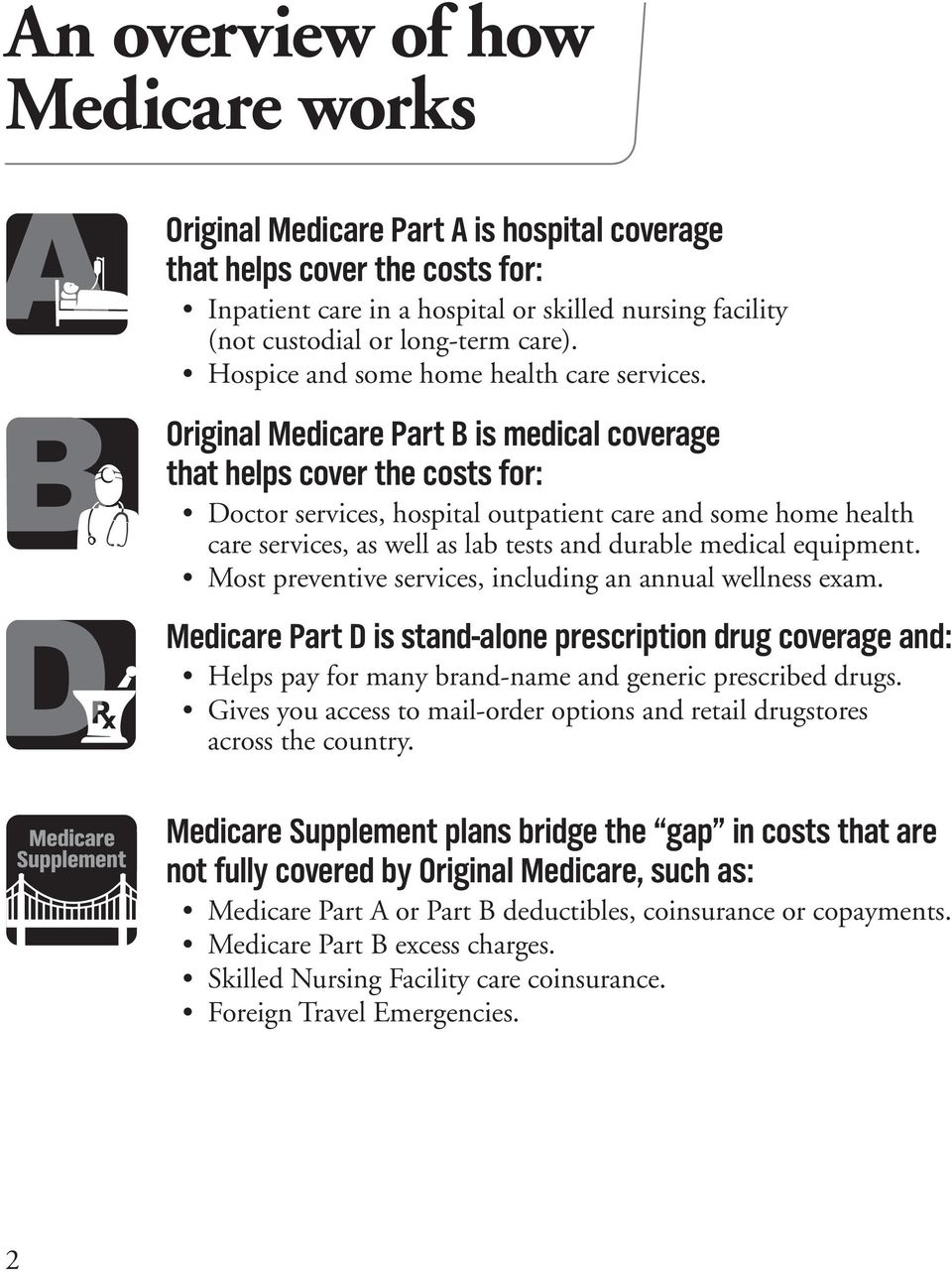 Original Medicare Part B is medical coverage that helps cover the costs for: Doctor services, hospital outpatient care and some home health care services, as well as lab tests and durable medical