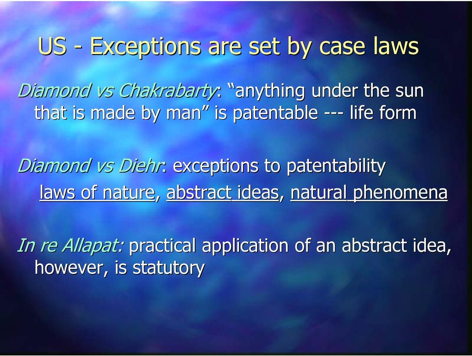exceptios to patetability laws of ature, abstract ideas, atural pheomea
