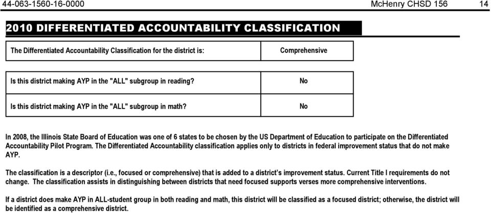 No In 28, the Illinois Board of Education was one of 6 states to be chosen by the US Department of Education to participate on the Differentiated Accountability Pilot Program.
