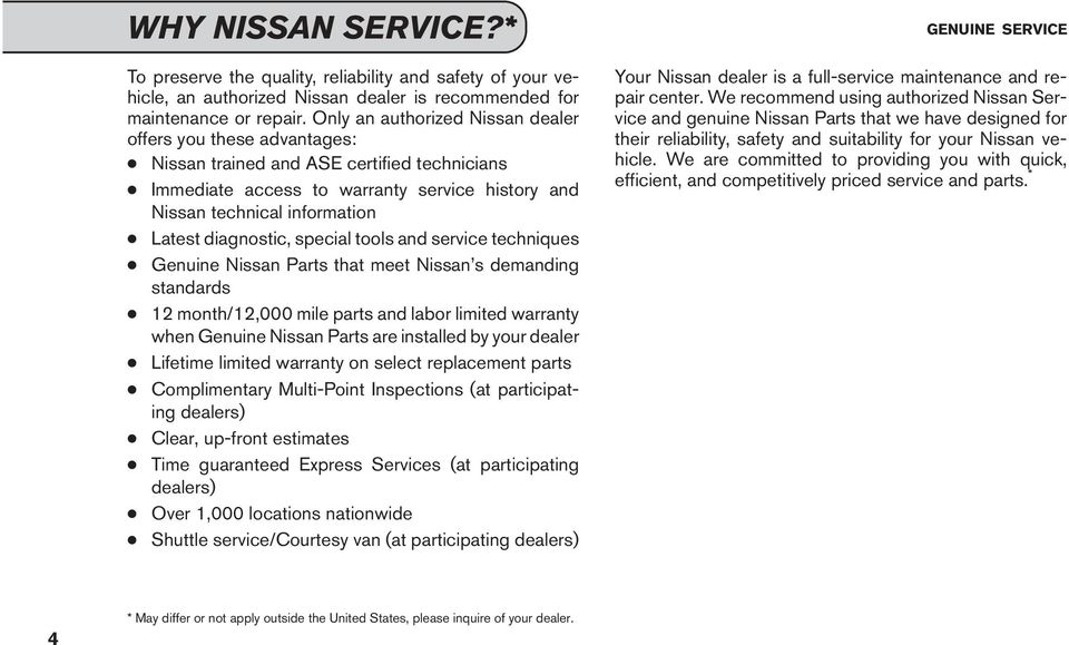 diagnostic, special tools and service techniques Genuine Nissan Parts that meet Nissan s demanding standards 12 month/12,000 mile parts and labor limited warranty when Genuine Nissan Parts are