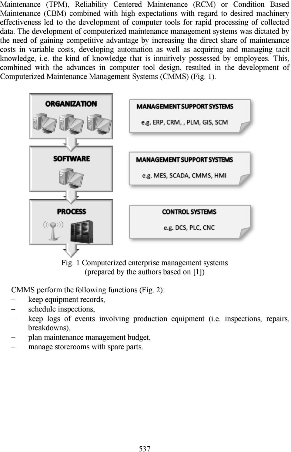 The development of computerized maintenance management systems was dictated by the need of gaining competitive advantage by increasing the direct share of maintenance costs in variable costs,