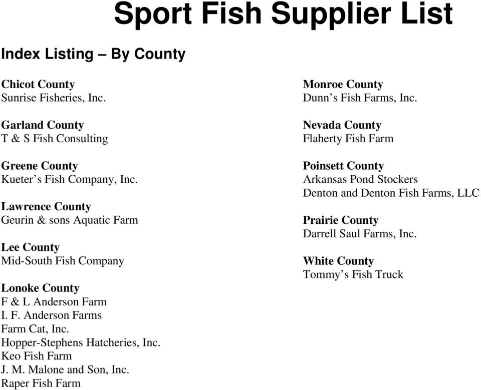 Lawrence County Geurin & sons Aquatic Farm Lee County Mid-South Fish Company F & L Anderson