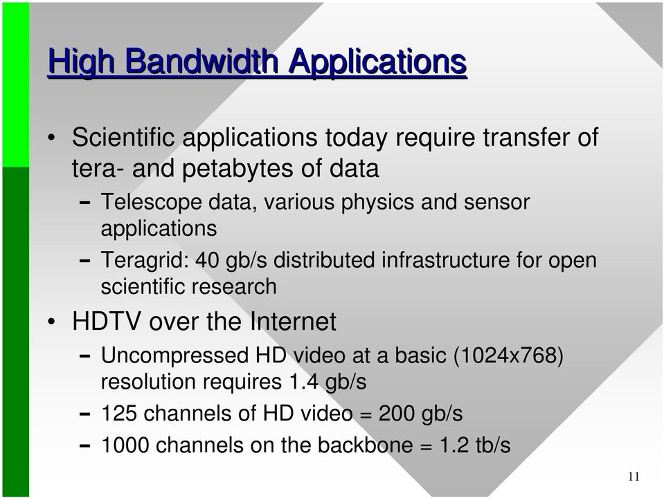 infrastructure for open scientific research HDTV over the Internet Uncompressed HD video at a basic