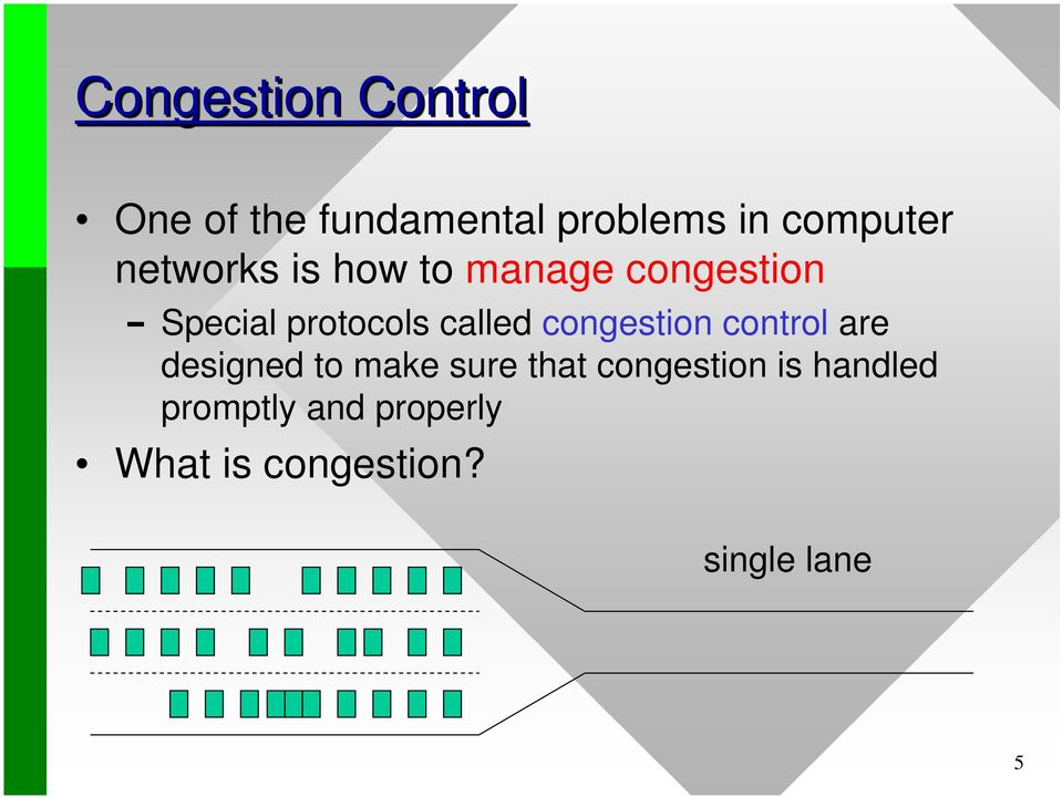 congestion control are designed to make sure that congestion