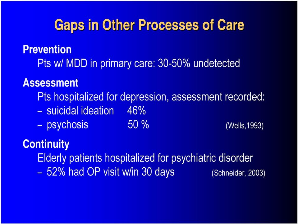 suicidal ideation 46% psychosis 50 % (Wells,1993) Continuity Elderly patients