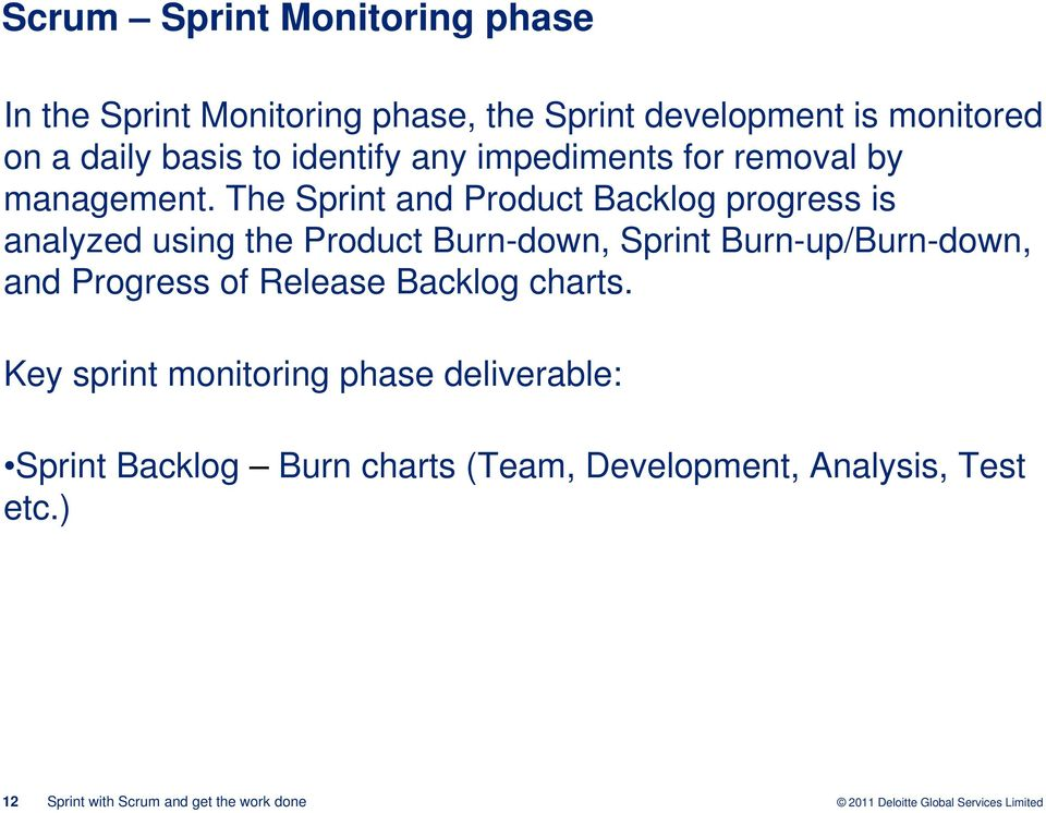The Sprint and Product Backlog progress is analyzed using the Product Burn-down, Sprint Burn-up/Burn-down,
