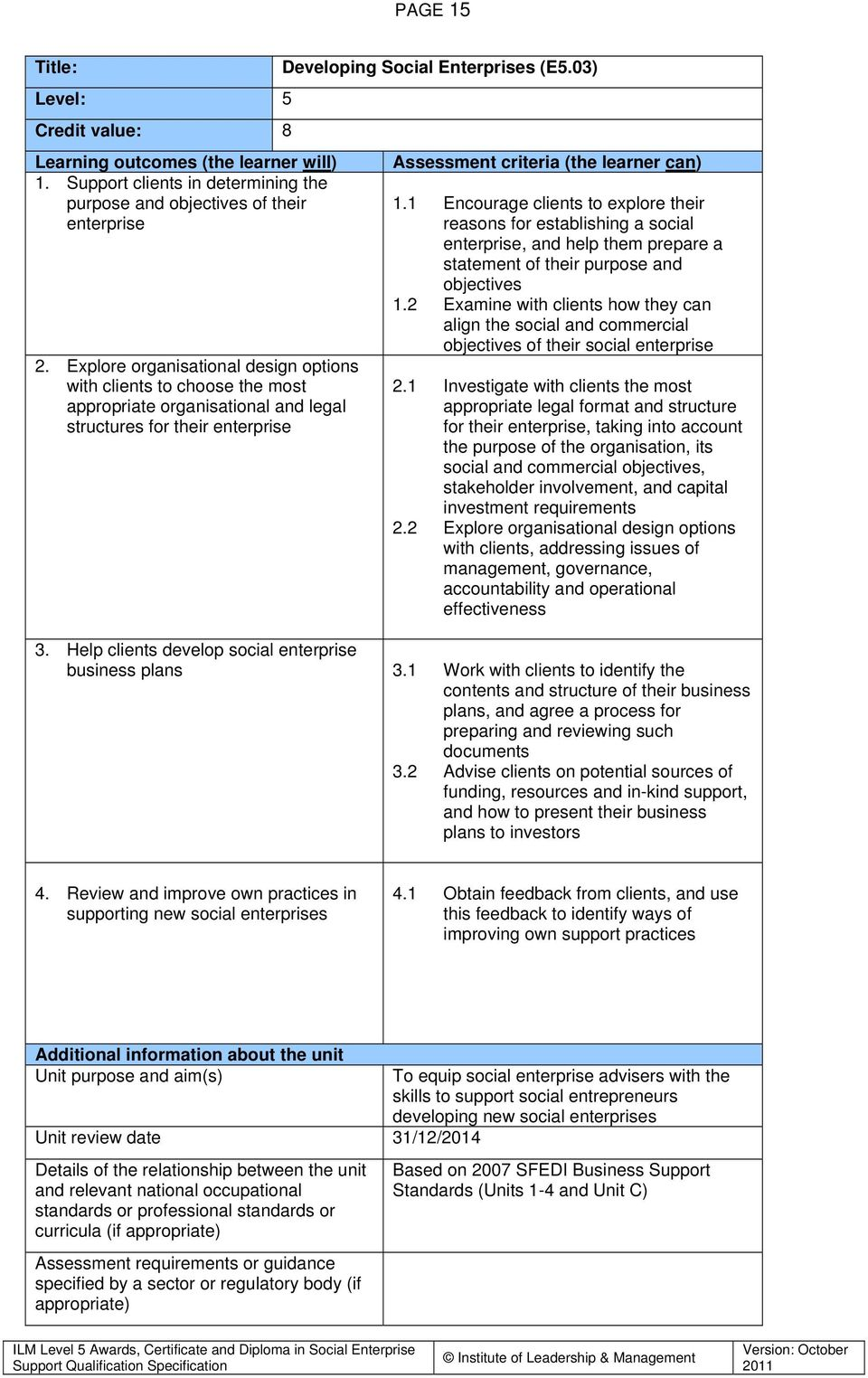 03) Assessment criteria (the learner can) 1.1 1.2 2.1 2.