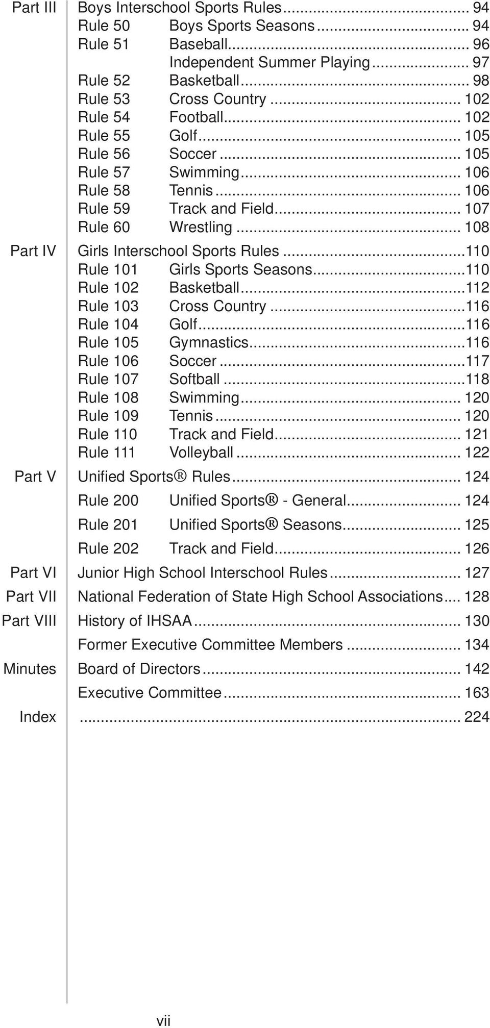 .. 108 Part IV Girls Interschool Sports Rules...110 Rule 101 Girls Sports Seasons...110 Rule 102 Basketball...112 Rule 103 Cross Country...116 Rule 104 Golf...116 Rule 105 Gymnastics.