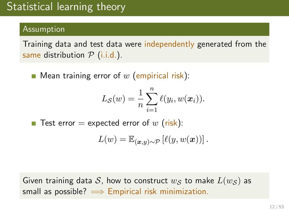 Mean training error of w (empirical risk): L S (w) = 1 n n l(y i, w(x i )).
