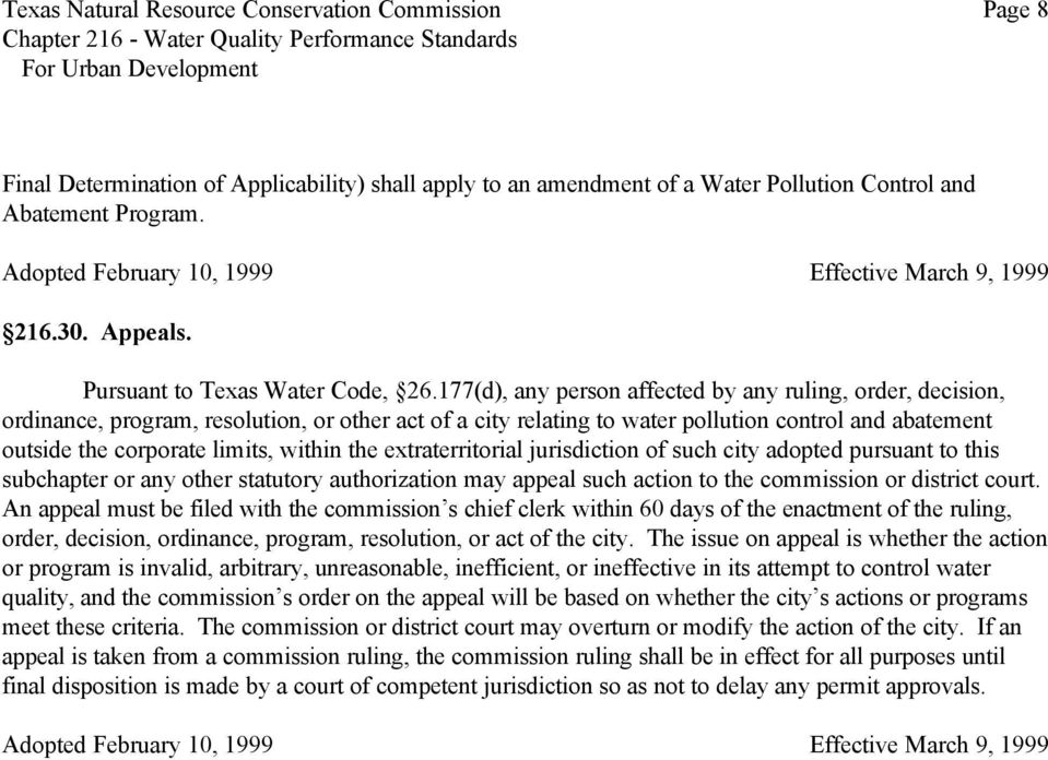 177(d), any person affected by any ruling, order, decision, ordinance, program, resolution, or other act of a city relating to water pollution control and abatement outside the corporate limits,