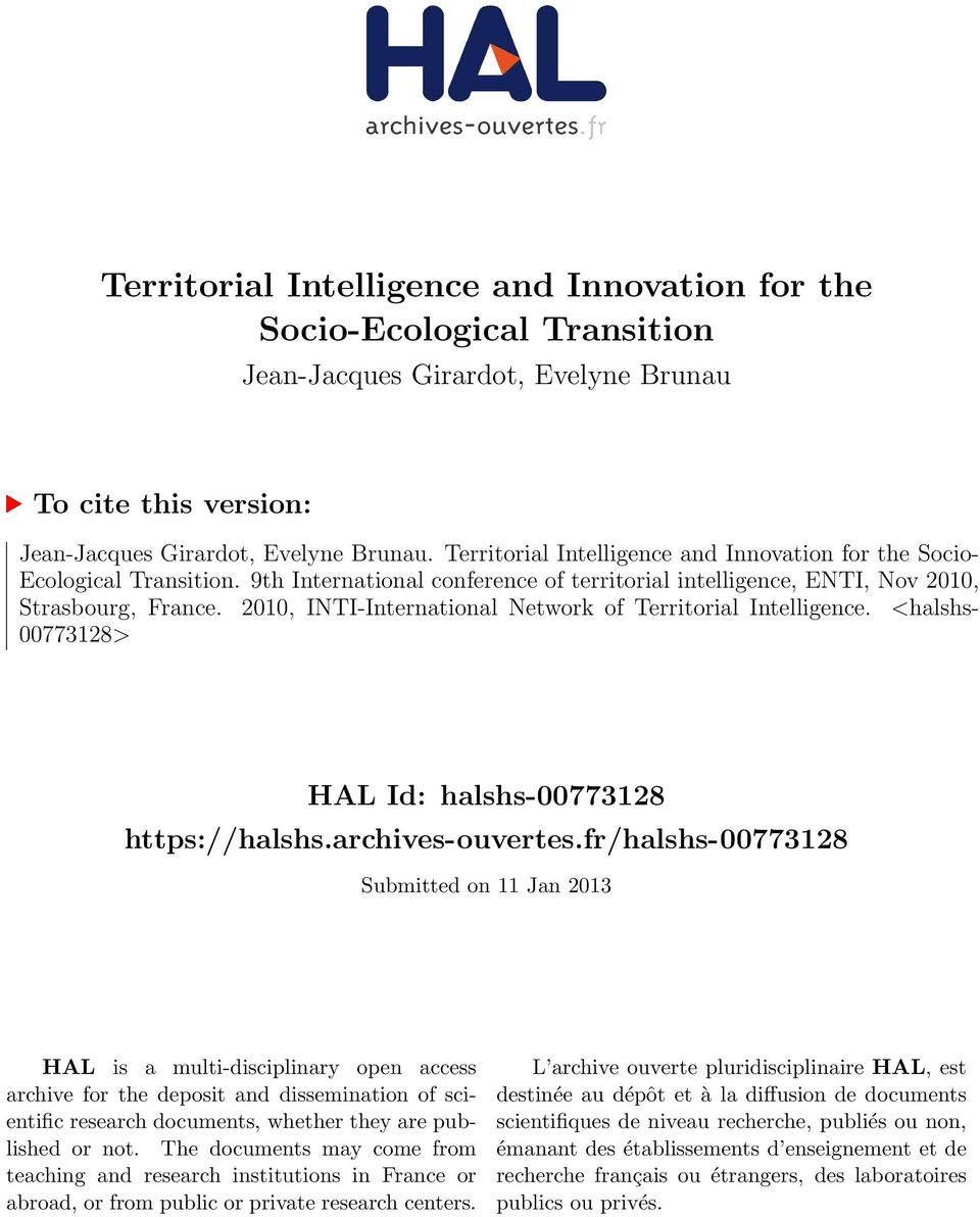 2010, INTI-International Network of Territorial Intelligence. <halshs- 00773128> HAL Id: halshs-00773128 https://halshs.archives-ouvertes.
