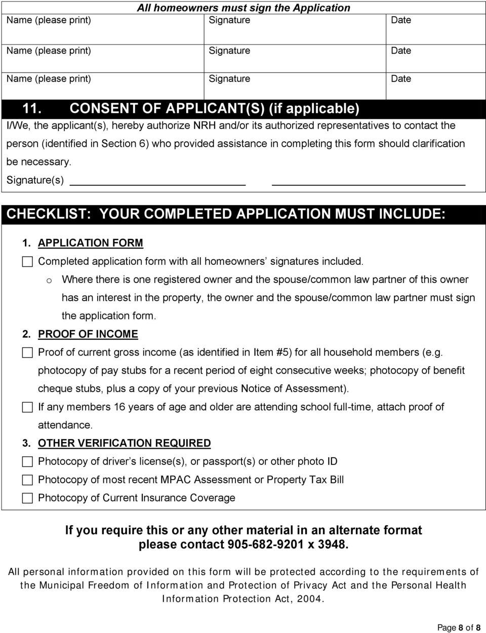 completing this form should clarification be necessary. Signature(s) CHECKLIST: YOUR COMPLETED APPLICATION MUST INCLUDE: 1.