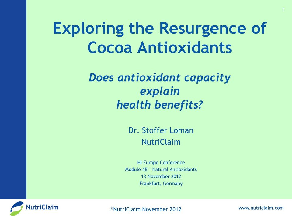 Stoffer Loman NutriClaim Hi Europe Conference Module