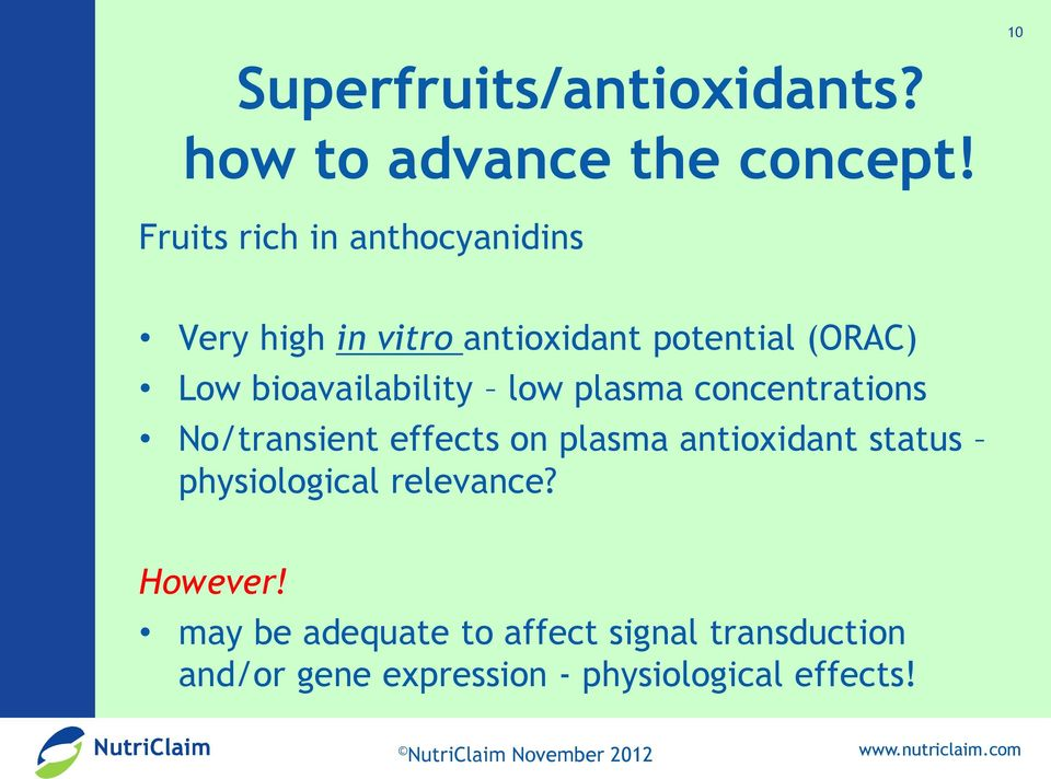 bioavailability low plasma concentrations No/transient effects on plasma antioxidant