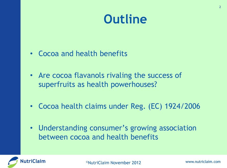 Cocoa health claims under Reg.