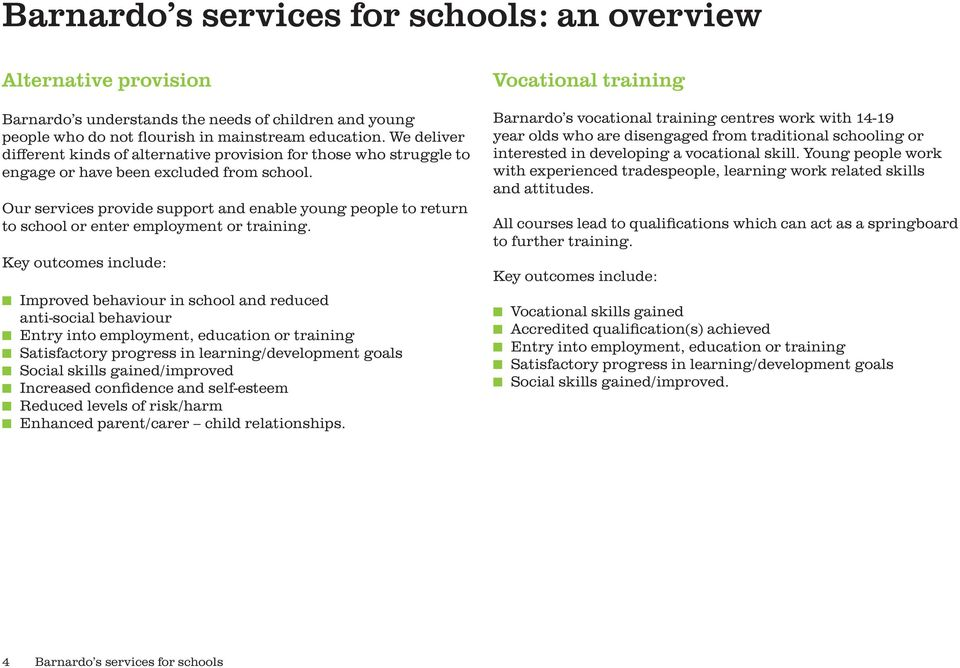 Our services provide support and enable young people to return to school or enter employment or training.