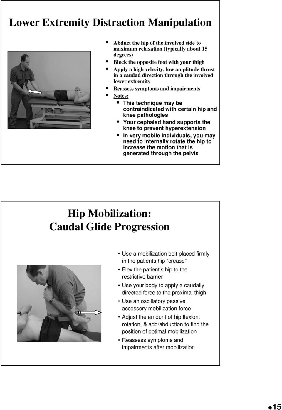 cephalad hand supports the knee to prevent hyperextension In very mobile individuals, you may need to internally rotate the hip to increase the motion that is generated through the pelvis Hip