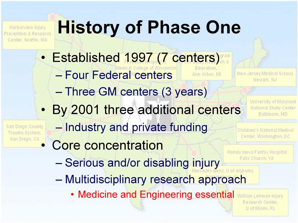 and private funding Core concentration Serious and/or disabling injury