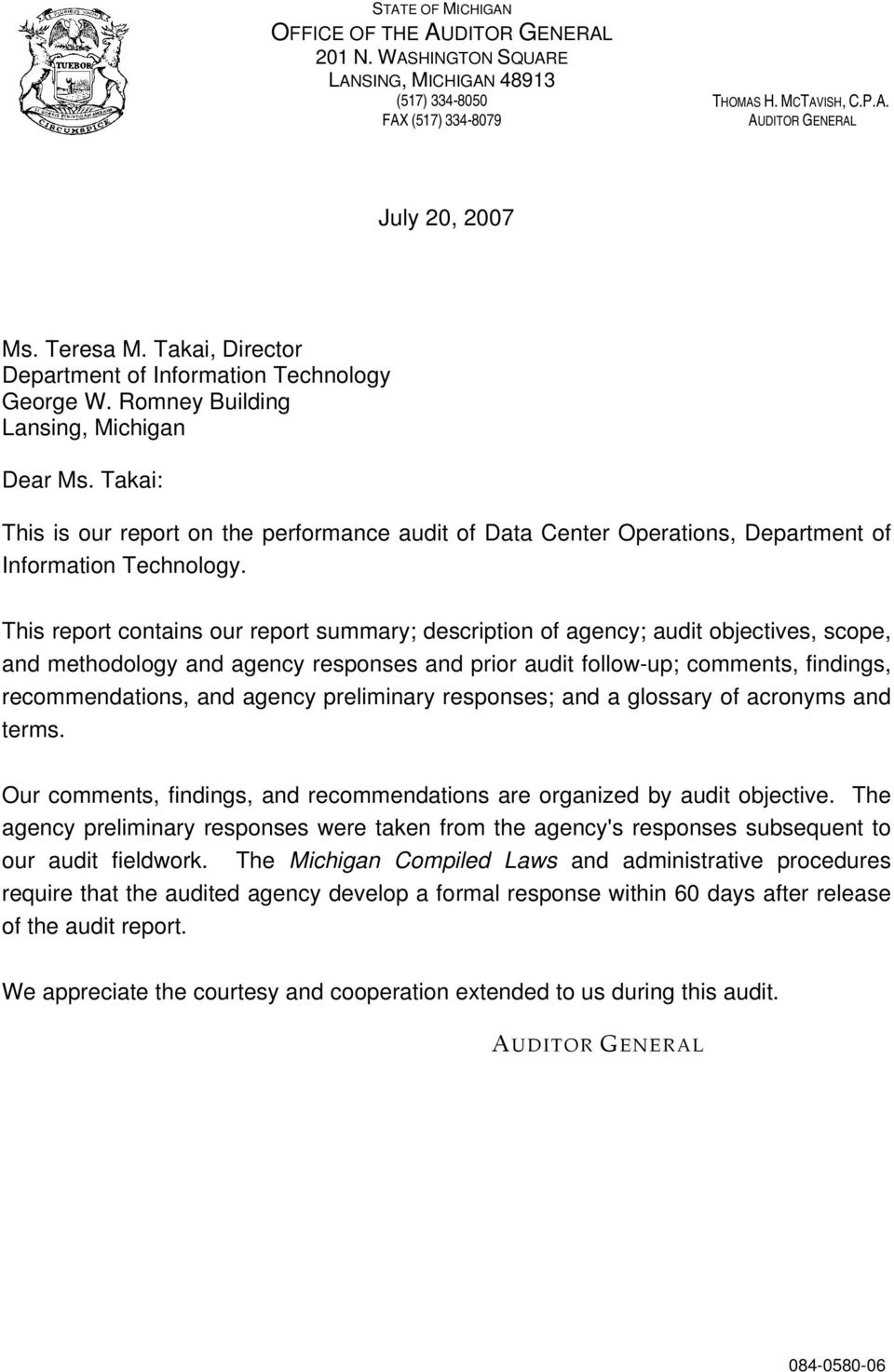 Takai: This is our report on the performance audit of Data Center Operations, Department of Information Technology.