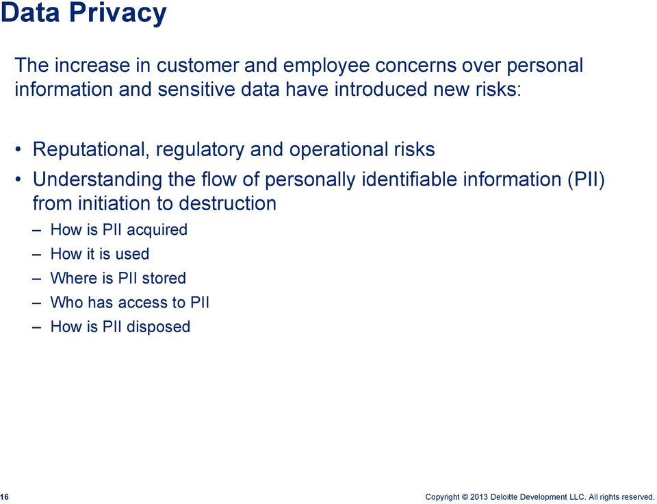 Understanding the flow of personally identifiable information (PII) from initiation to