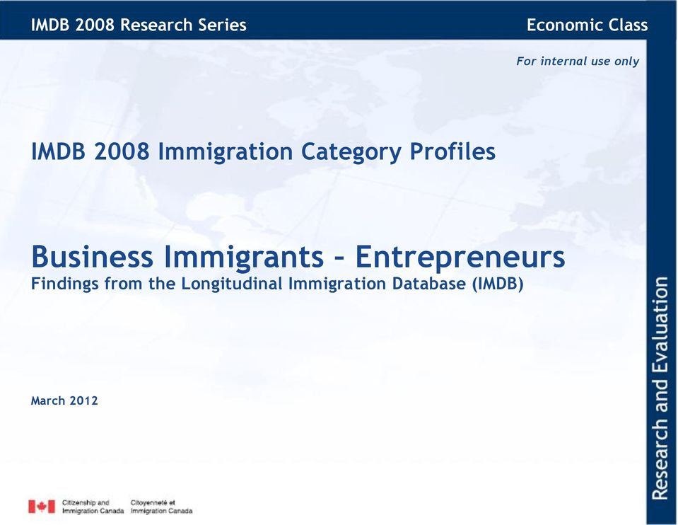 Profiles Business Immigrants Entrepreneurs Findings