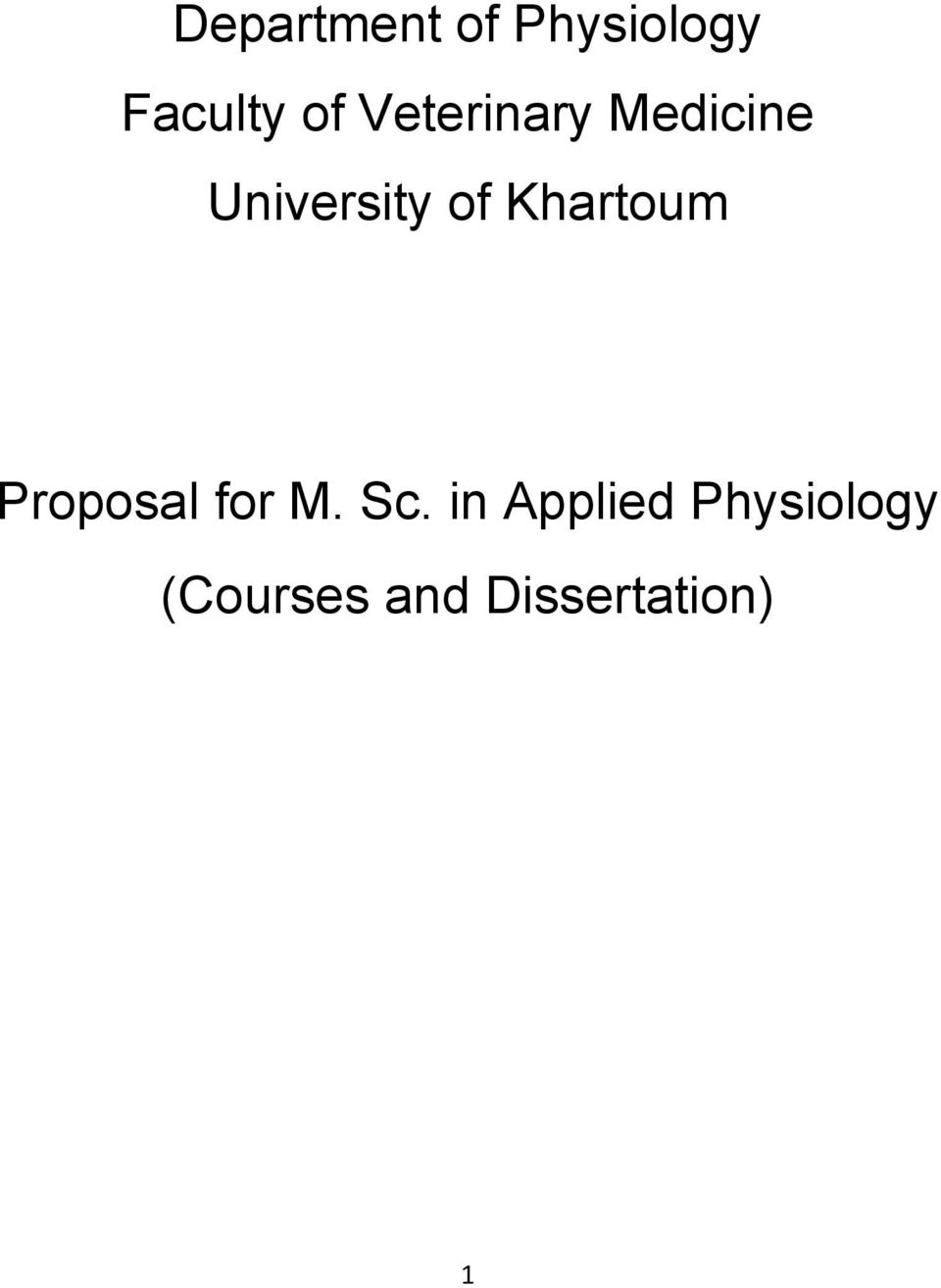 Khartoum Proposal for M. Sc.