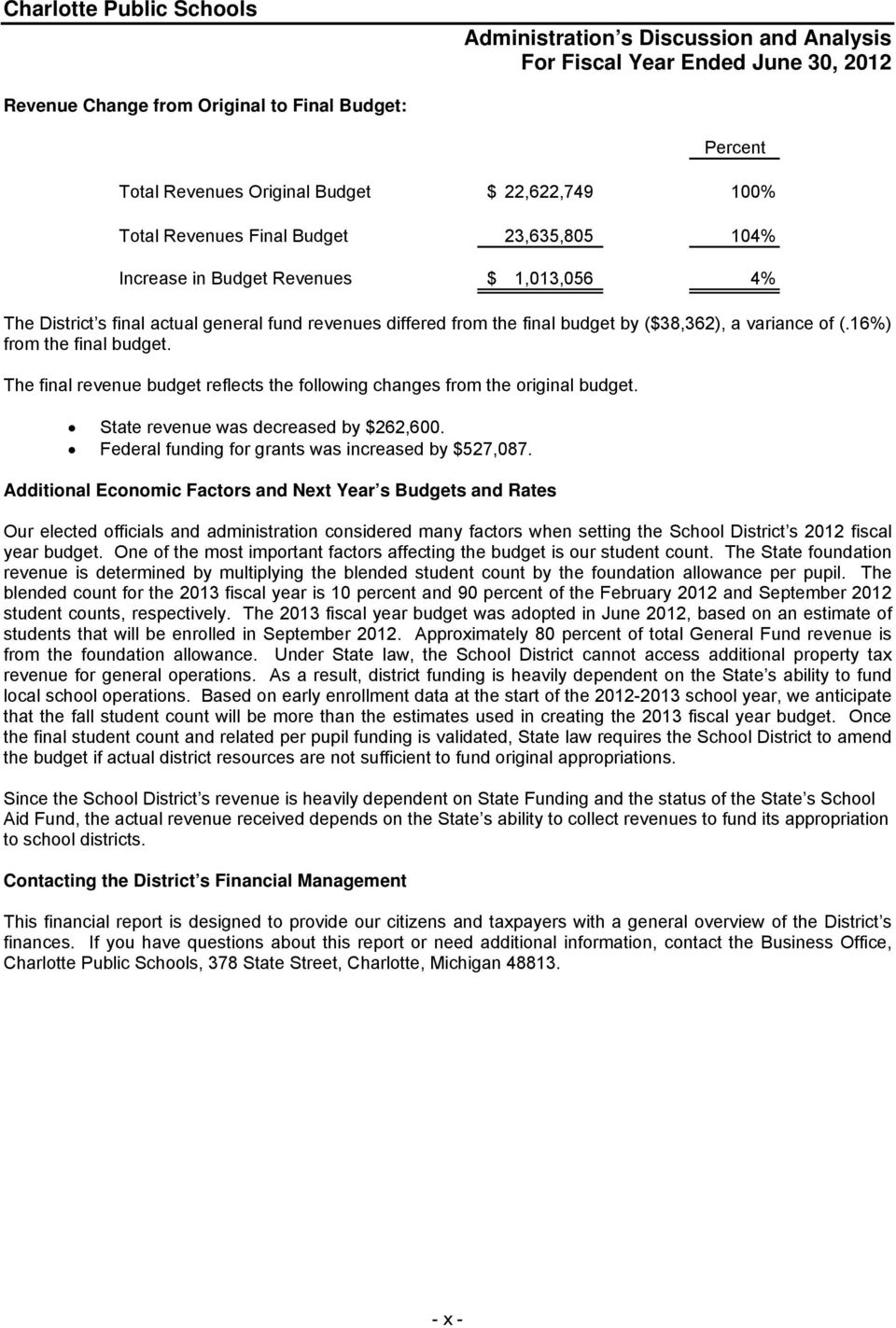 The final revenue budget reflects the following changes from the original budget. State revenue was decreased by $262,600. Federal funding for grants was increased by $527,087.