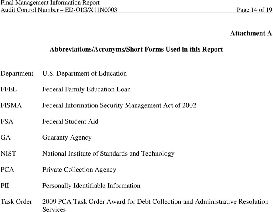 Department of Education Federal Family Education Loan FISMA Federal Information Security Management Act of 2002 FSA GA NIST PCA