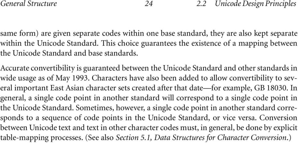 Accurate convertibility is guaranteed between the Unicode Standard and other standards in wide usage as of May 1993.