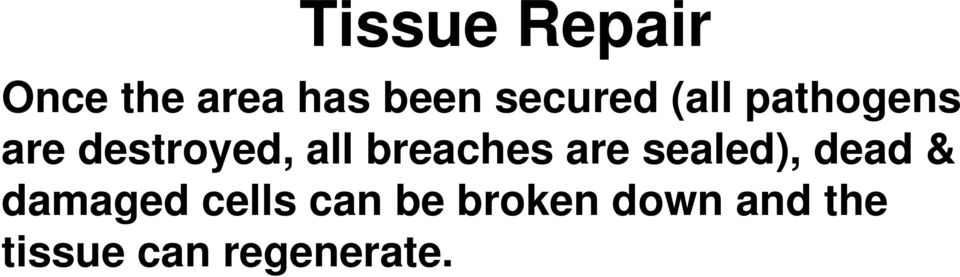 breaches are sealed), dead & damaged cells