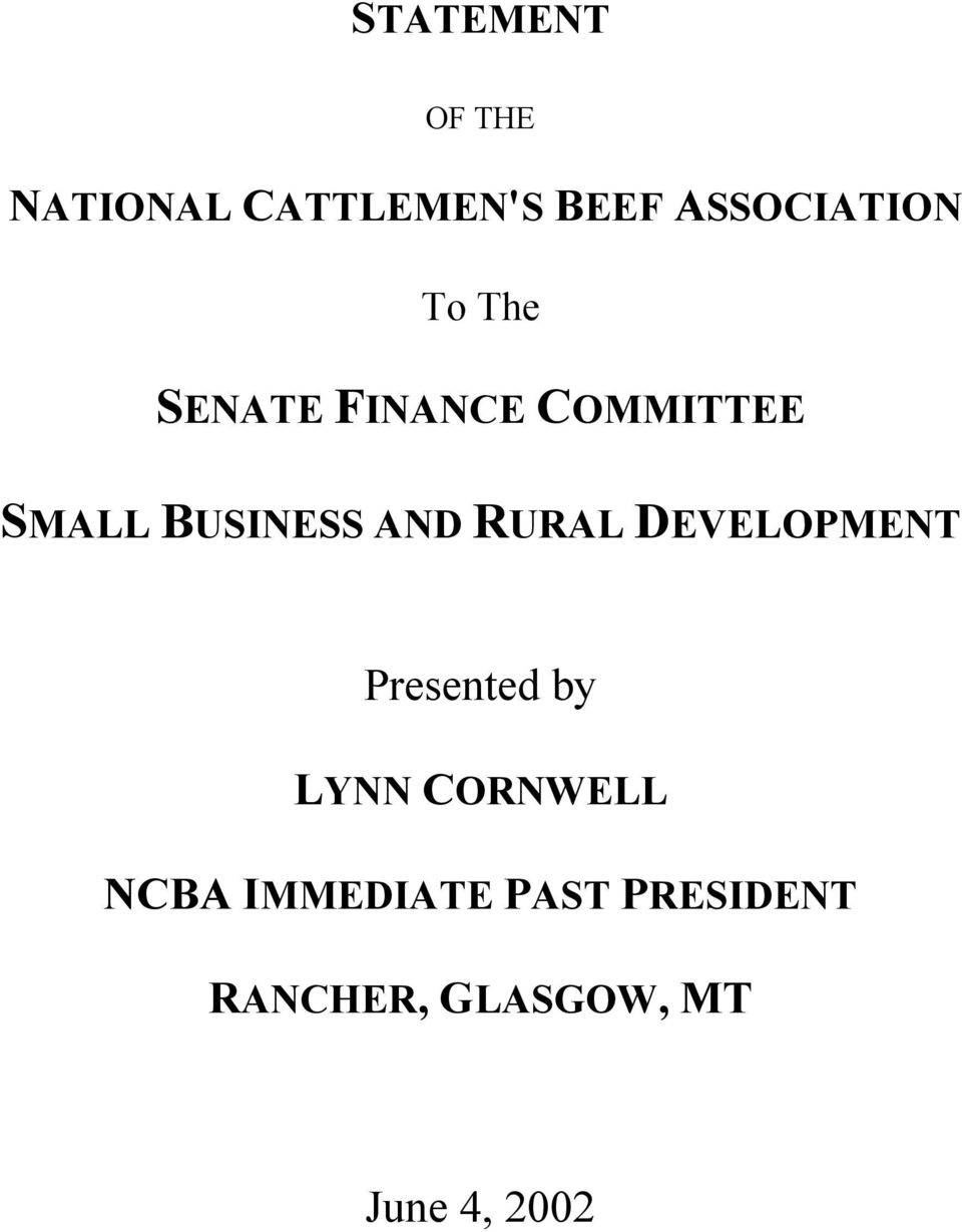 BUSINESS AND RURAL DEVELOPMENT Presented by LYNN
