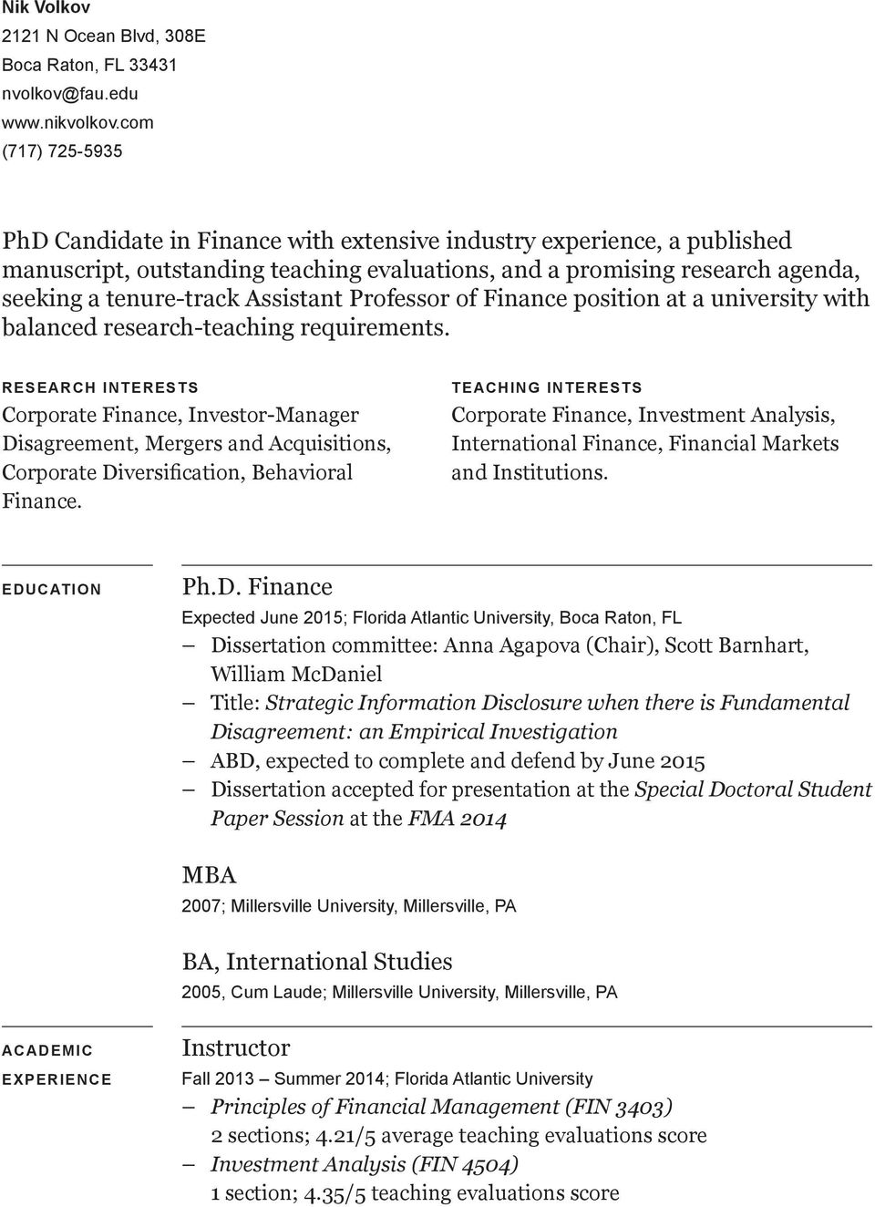 Assistant Professor of Finance position at a university with balanced research-teaching requirements.