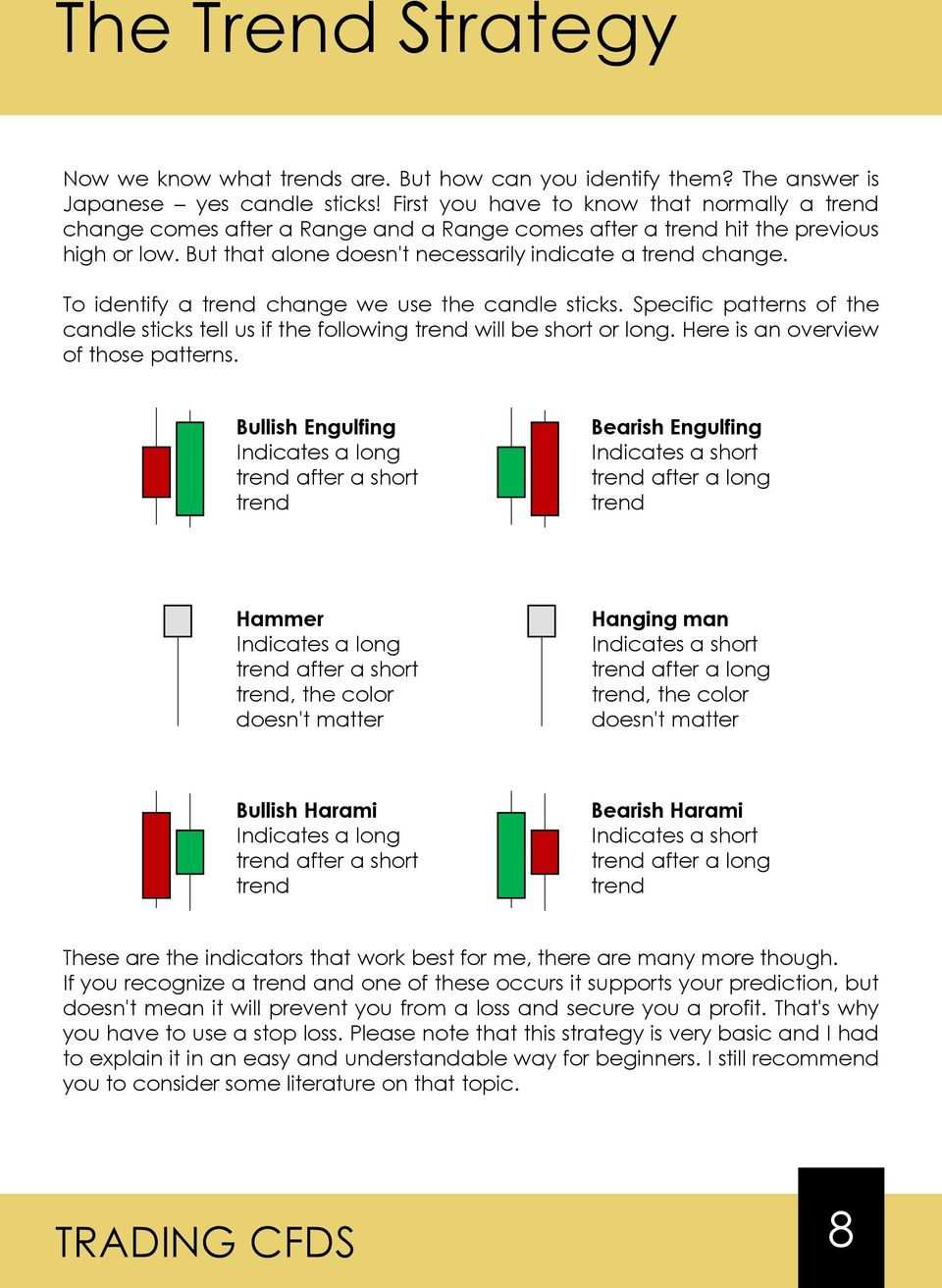 To identify a trend change we use the candle sticks. Specific patterns of the candle sticks tell us if the following trend will be short or long. Here is an overview of those patterns.