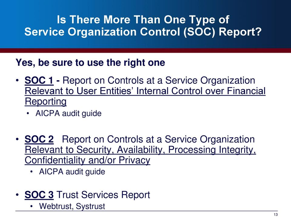 Internal Control over Financial Reporting AICPA audit guide SOC 2 Report on Controls at a Service Organization