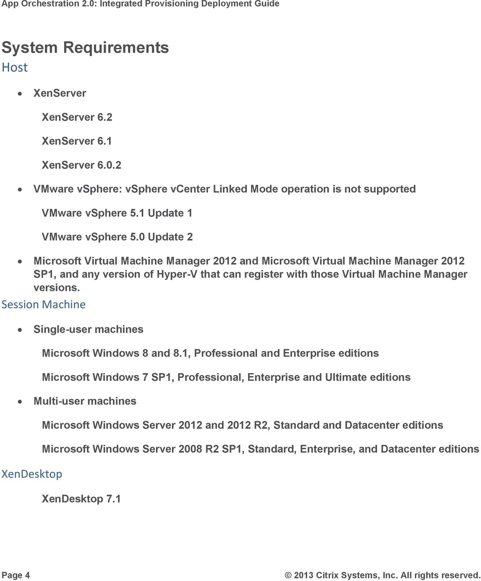 0 Update 2 Microsoft Virtual Machine Manager 2012 and Microsoft Virtual Machine Manager 2012 SP1, and any version of Hyper-V that can register with those Virtual Machine Manager versions.