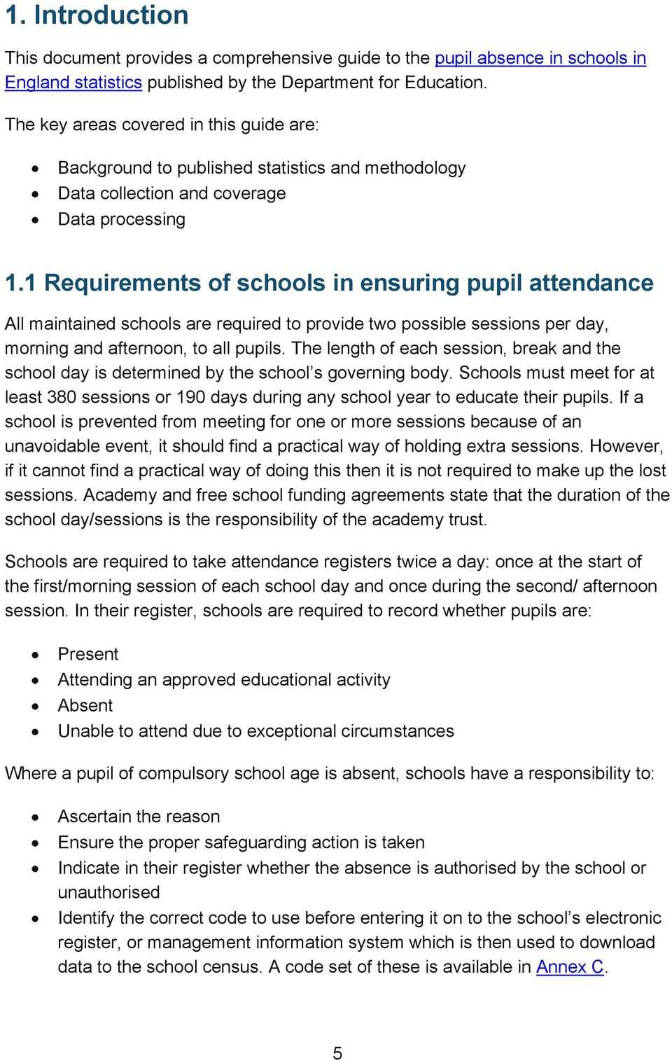 1 Requirements of schools in ensuring pupil attendance All maintained schools are required to provide two possible sessions per day, morning and afternoon, to all pupils.