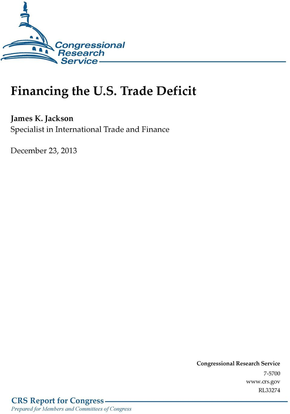Finance December 23, 2013 CRS Report for Congress