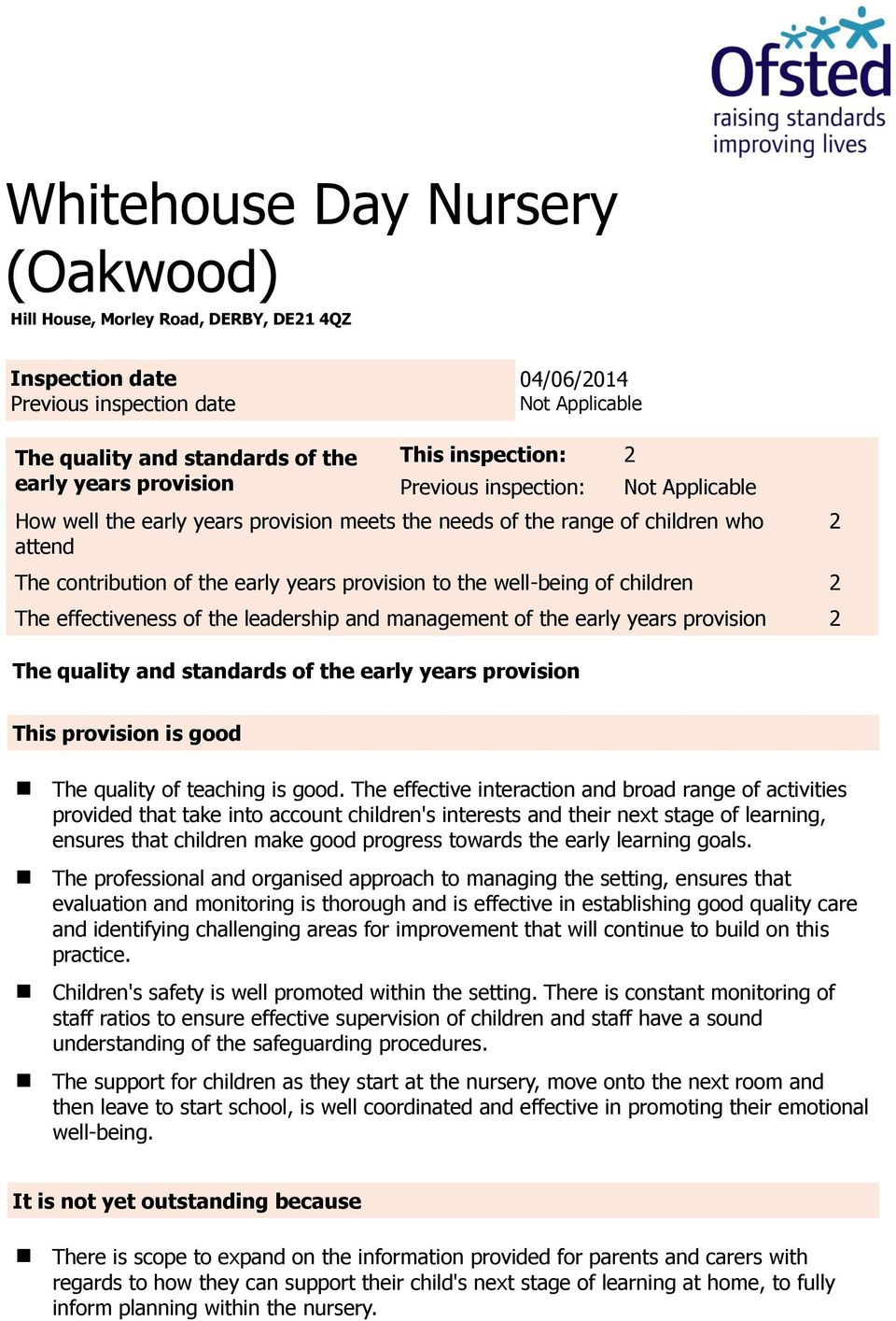 well-being of children 2 The effectiveness of the leadership and management of the early years provision 2 The quality and standards of the early years provision 2 This provision is good The quality