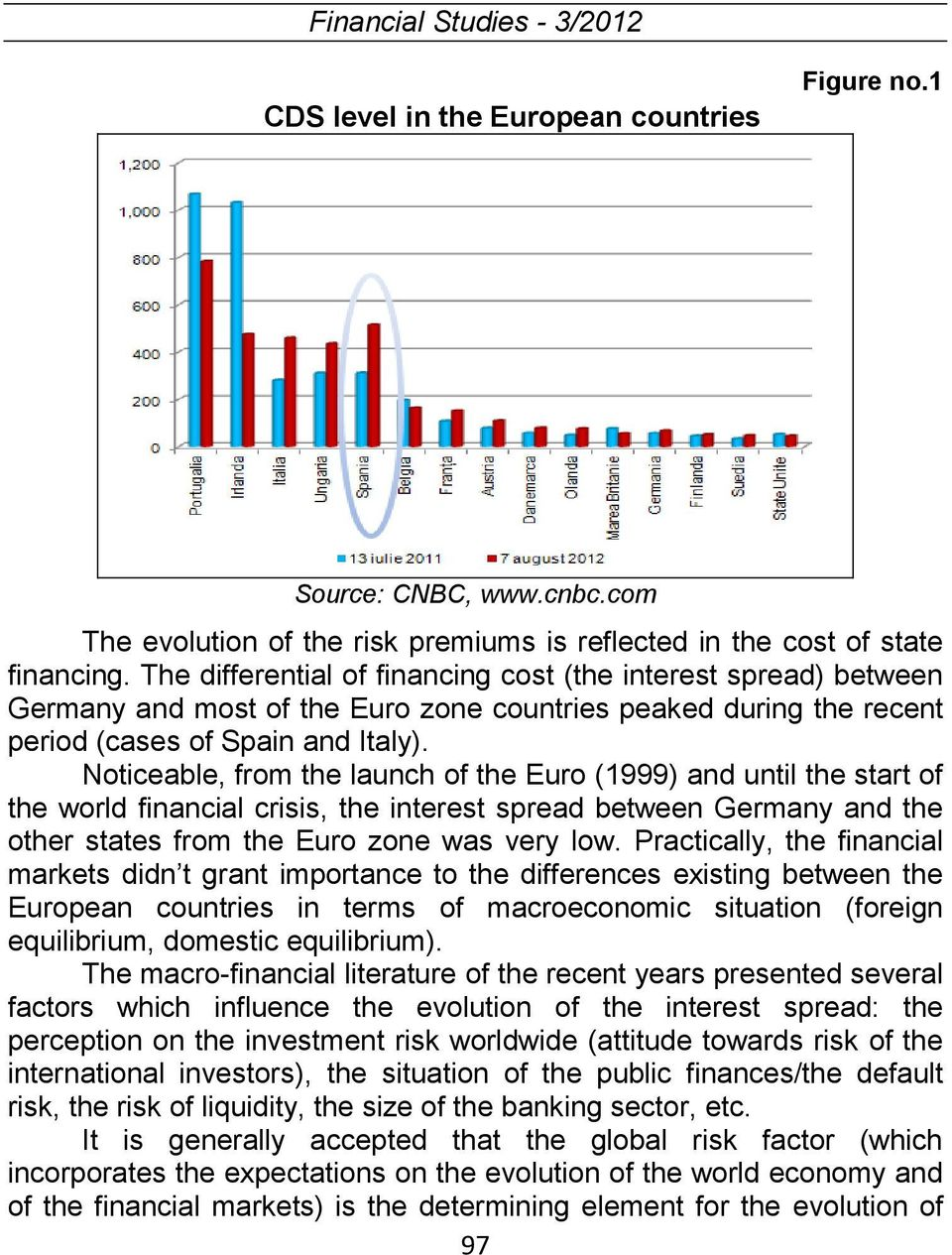 Noticeable, from the launch of the Euro (1999) and until the start of the world financial crisis, the interest spread between Germany and the other states from the Euro zone was very low.