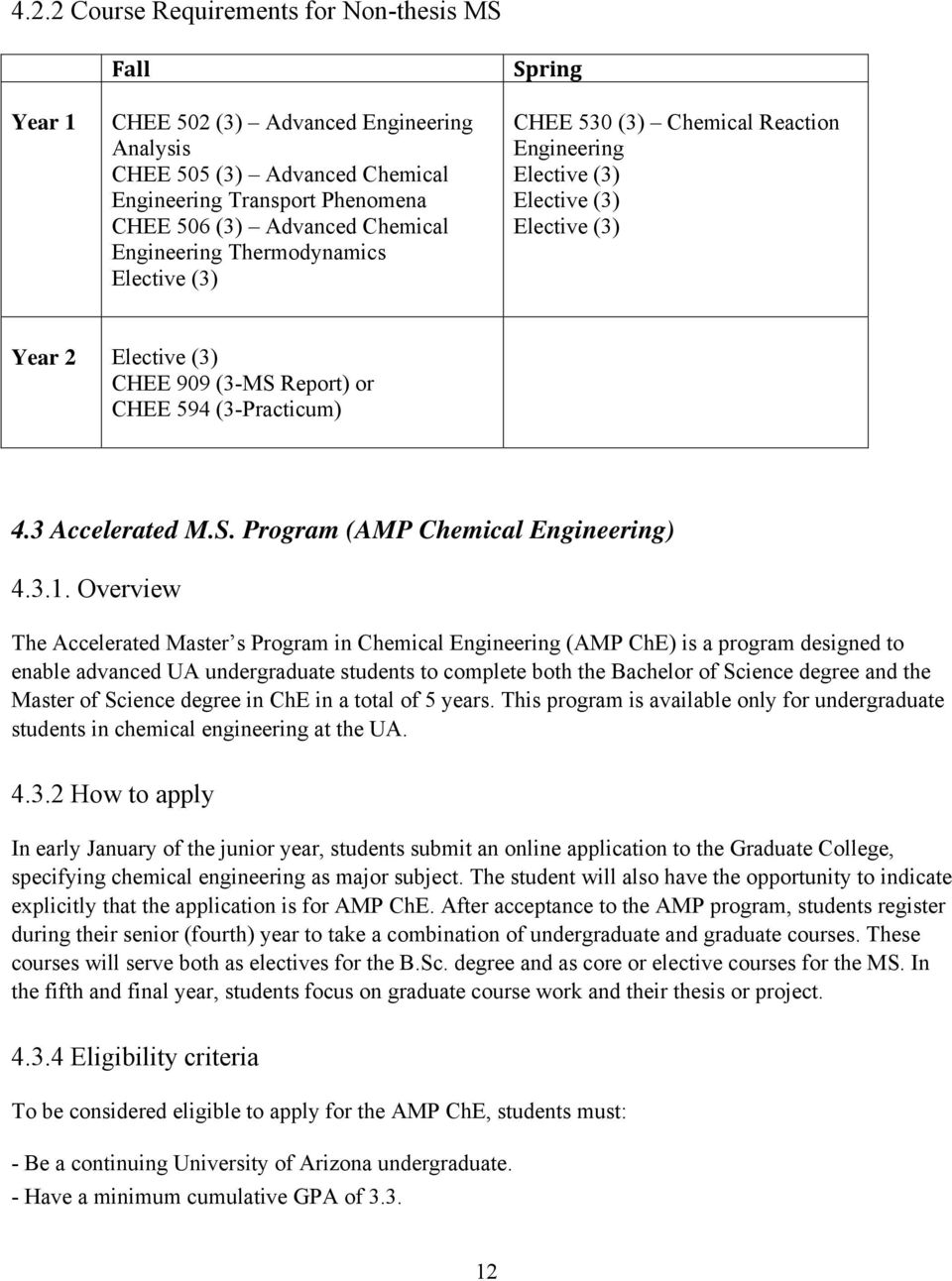 3 Accelerated M.S. Program (AMP Chemical Engineering) 4.3.1.