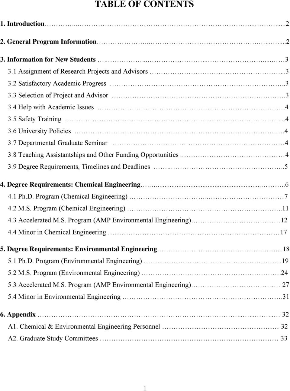 8 Teaching Assistantships and Other Funding Opportunities. 4 3.9 Degree Requirements, Timelines and Deadlines....5 4. Degree Requirements: Chemical Engineering......6 4.1 Ph.D. Program (Chemical Engineering).